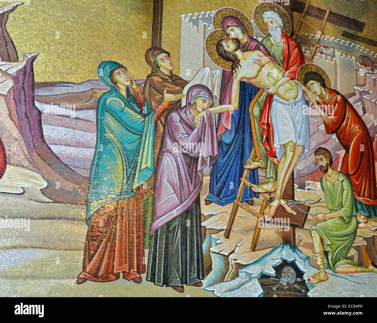 Mosaic of the Deposition of Christ; in the Church of the Holy Sepulchre. - Stock Image
