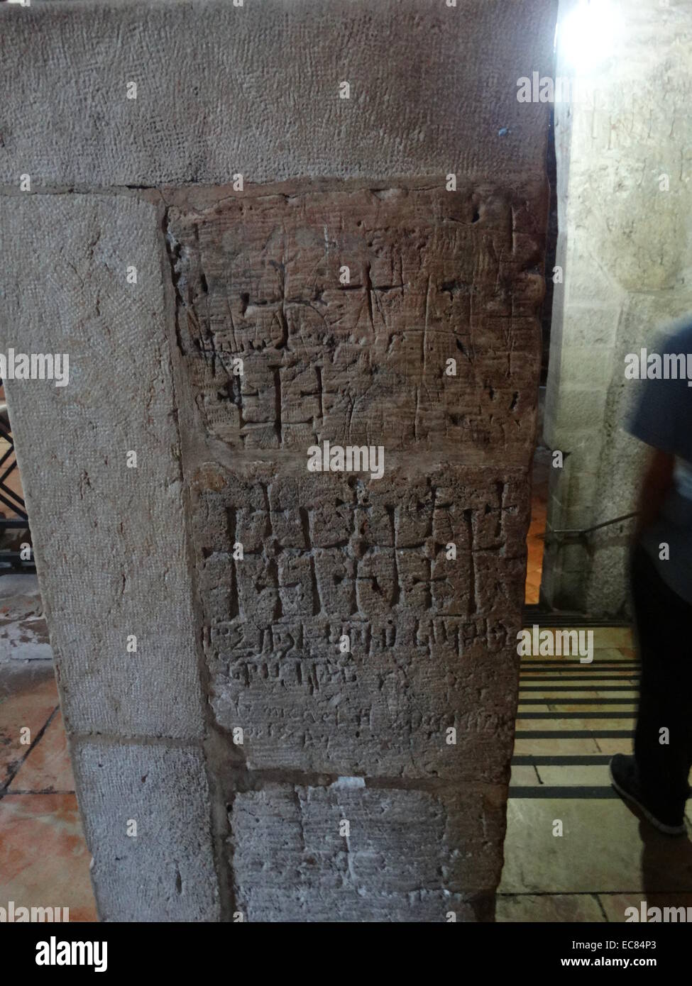 Crusader graffiti in the Church of the Holy Sepulchre. - Stock Image