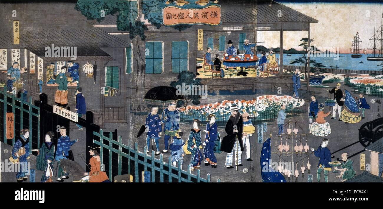 Foreign settlement in Yokohama, Japan. - Stock Image