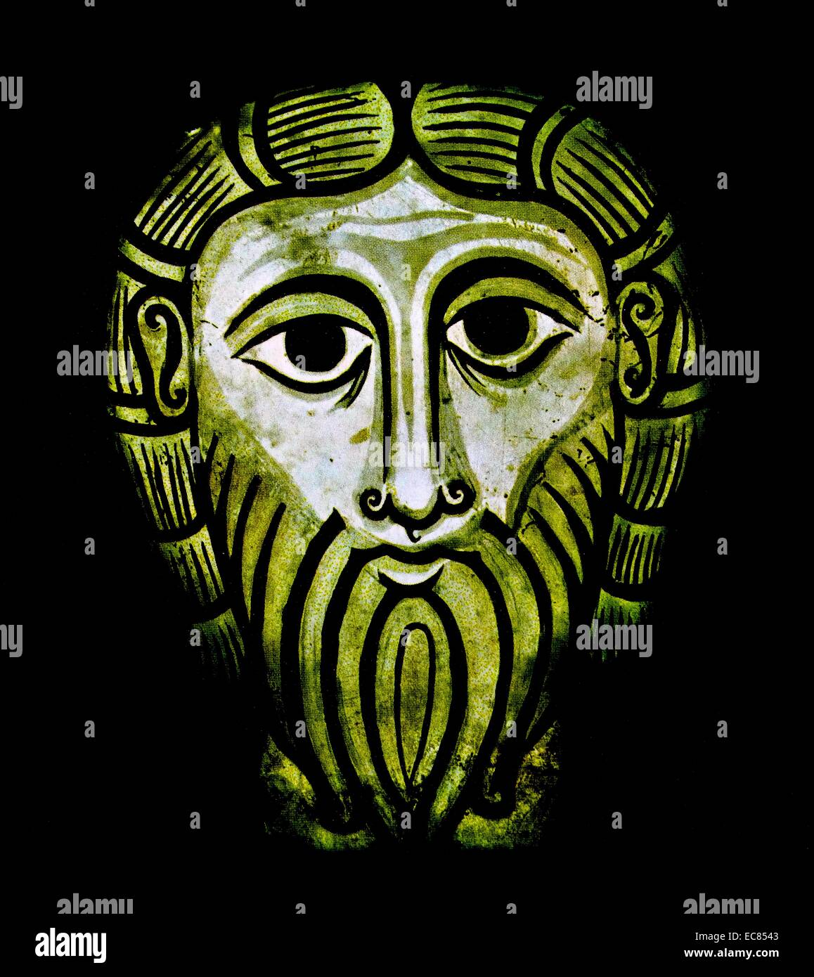 Fresco of The Face of Jesus Christ. Dated 11th Century - Stock Image