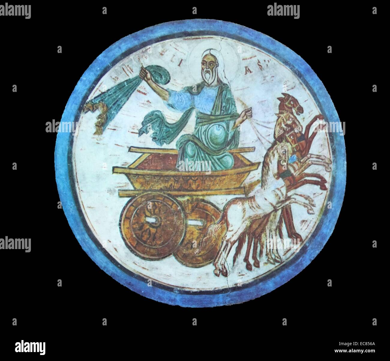 Fresco titled 'Elijah on the Chariot of Fire'. Dated 13th century - Stock Image