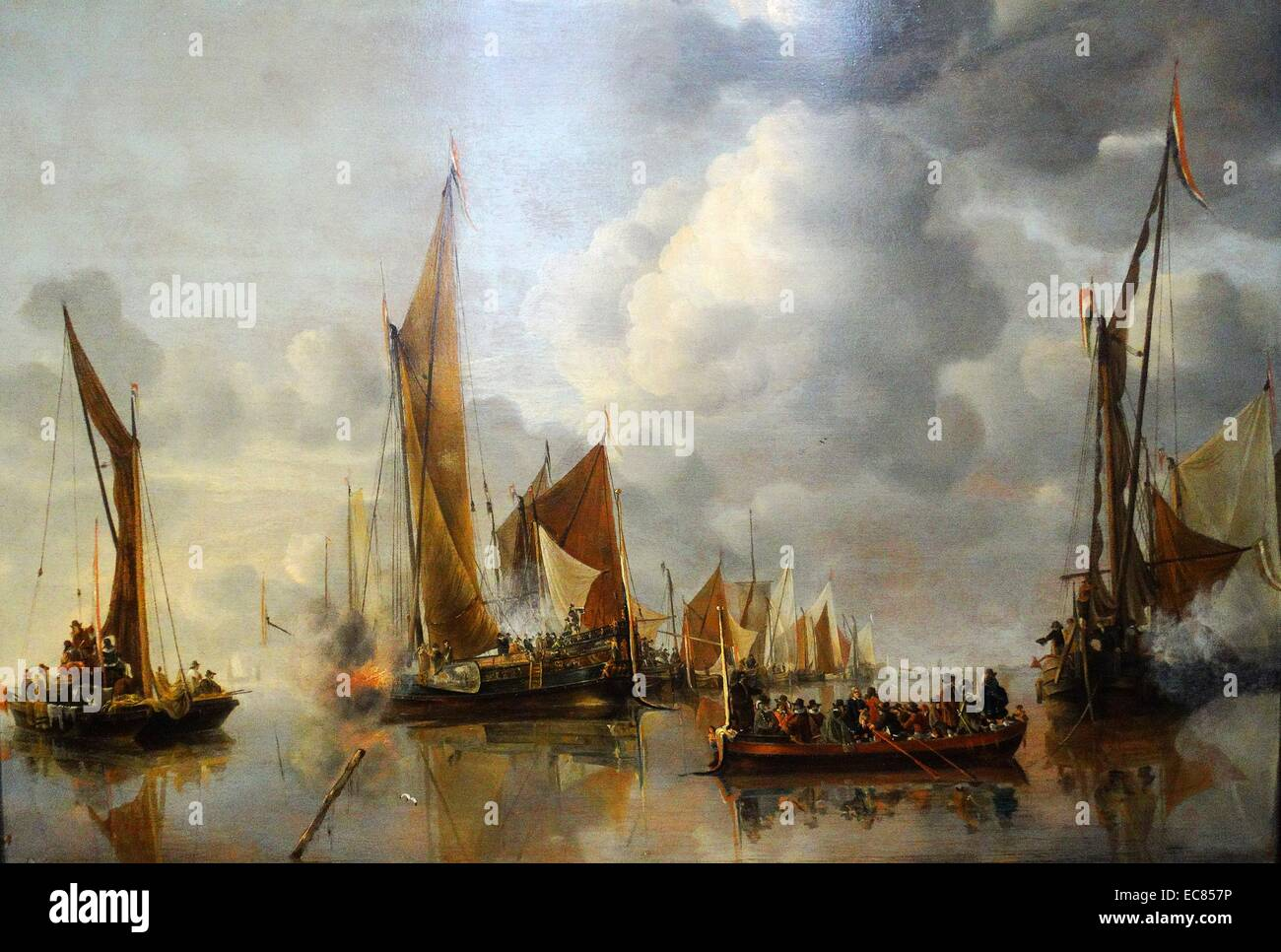 Painting of the home fleet saluting the State Barge. Painted by Jan van de Cappelle (1624-1679). Dated 17th Century - Stock Image