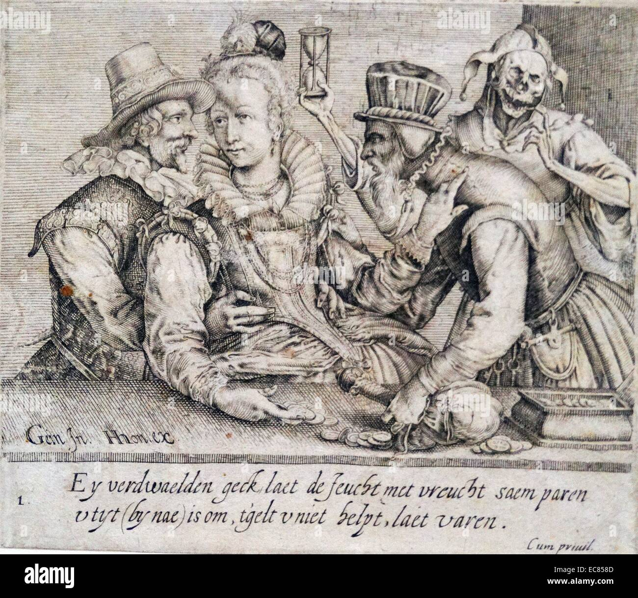 Engraving titled 'Unequal Love'. By Andries Stock (1580-1648) Baroque engraver, printmaker and illustrator. - Stock Image