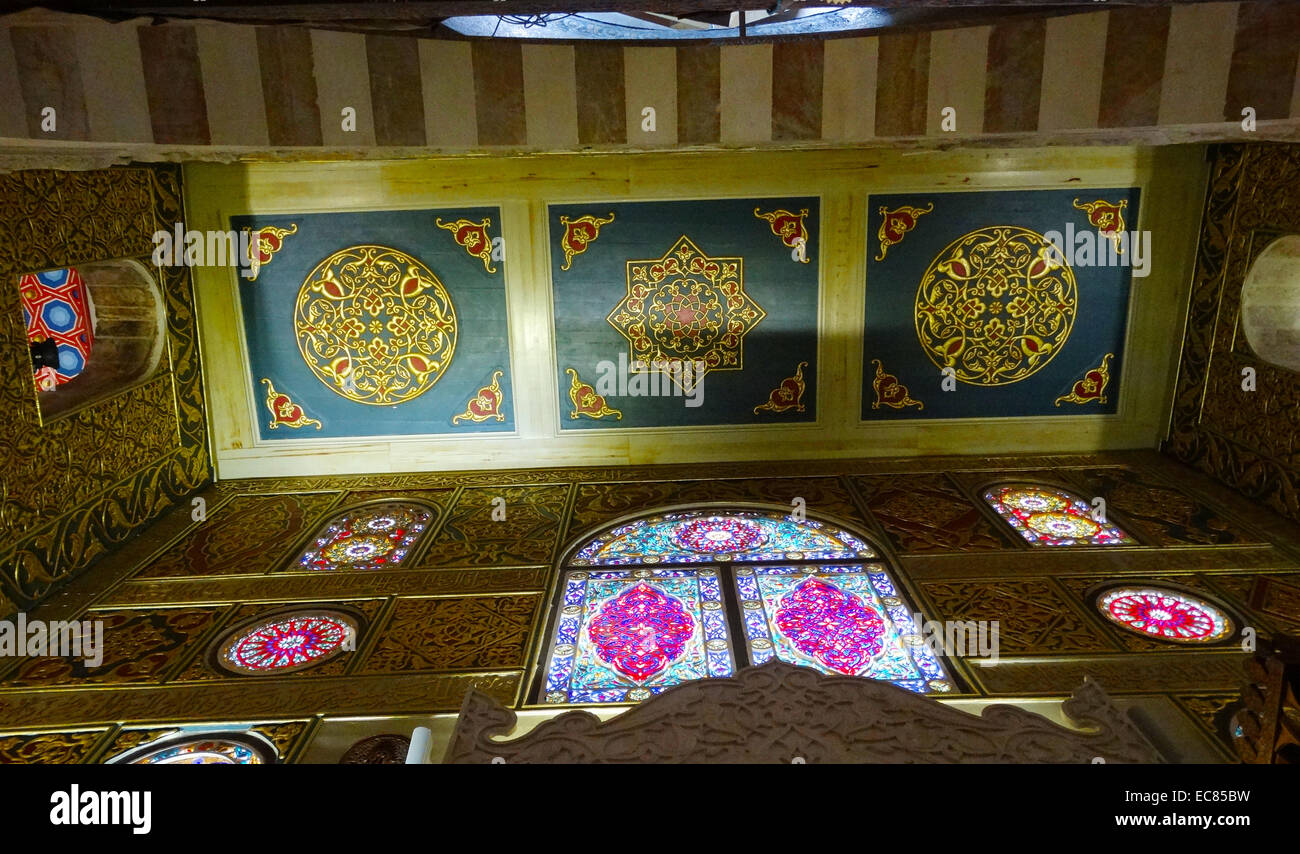 Decorated panels and stained glass in the Al-Aqsa Mosque - Stock Image