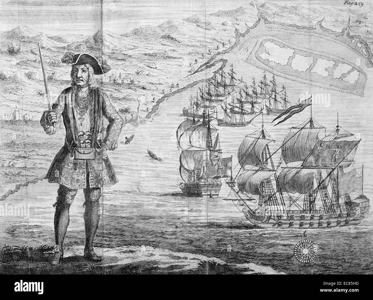 Engraving of Bartholomew Roberts with his ship and captured merchant ships - Stock Image