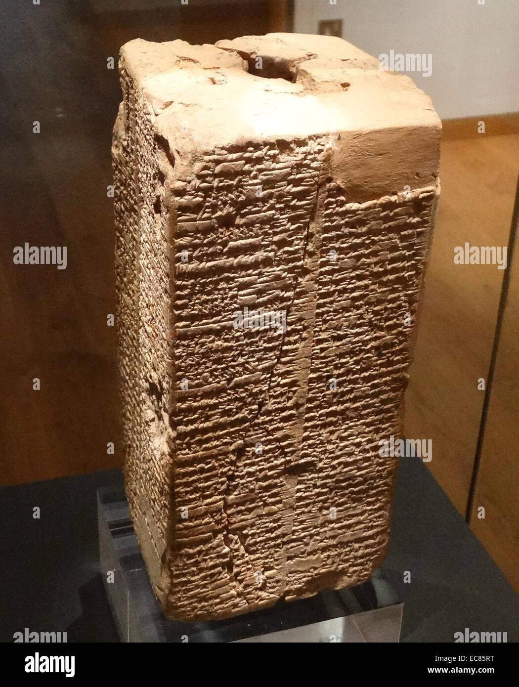 Sumerian 'King List' circa 1800 BC. Description of a great flood - Stock Image