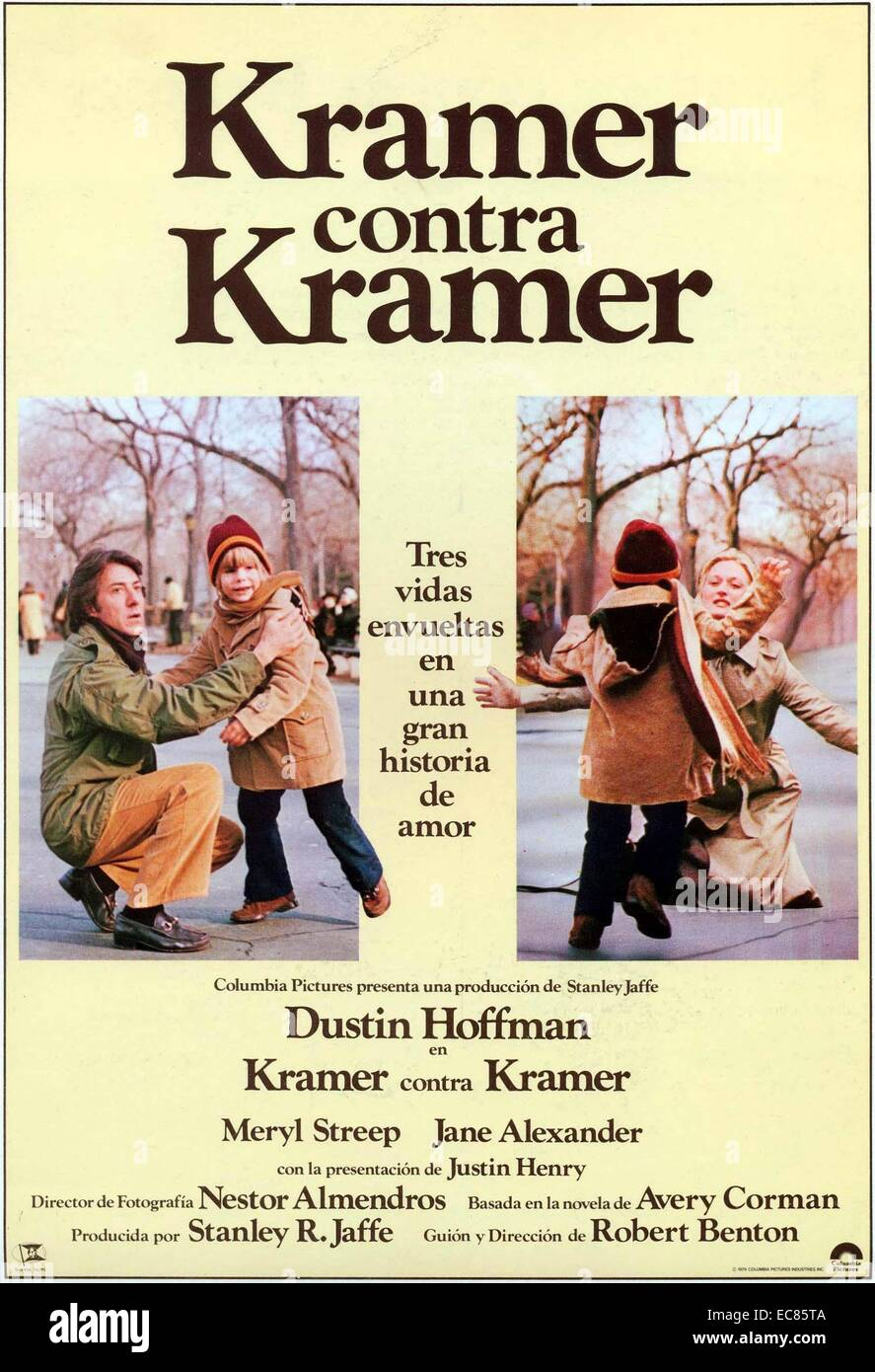 Kramer vs. Kramer is a 1979 American drama film adapted by Robert Benton from the novel by Avery Corman; and directed - Stock Image