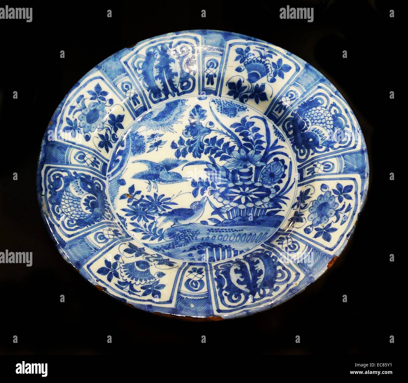 Tin-glazed earthenware dish. Dated 17th Century - Stock Image