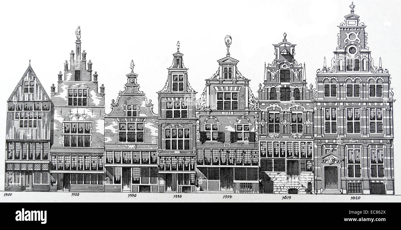 Drawing showing architectural transition of styles of Dutch houses in Amsterdam; from 1500 - 1620 - Stock Image
