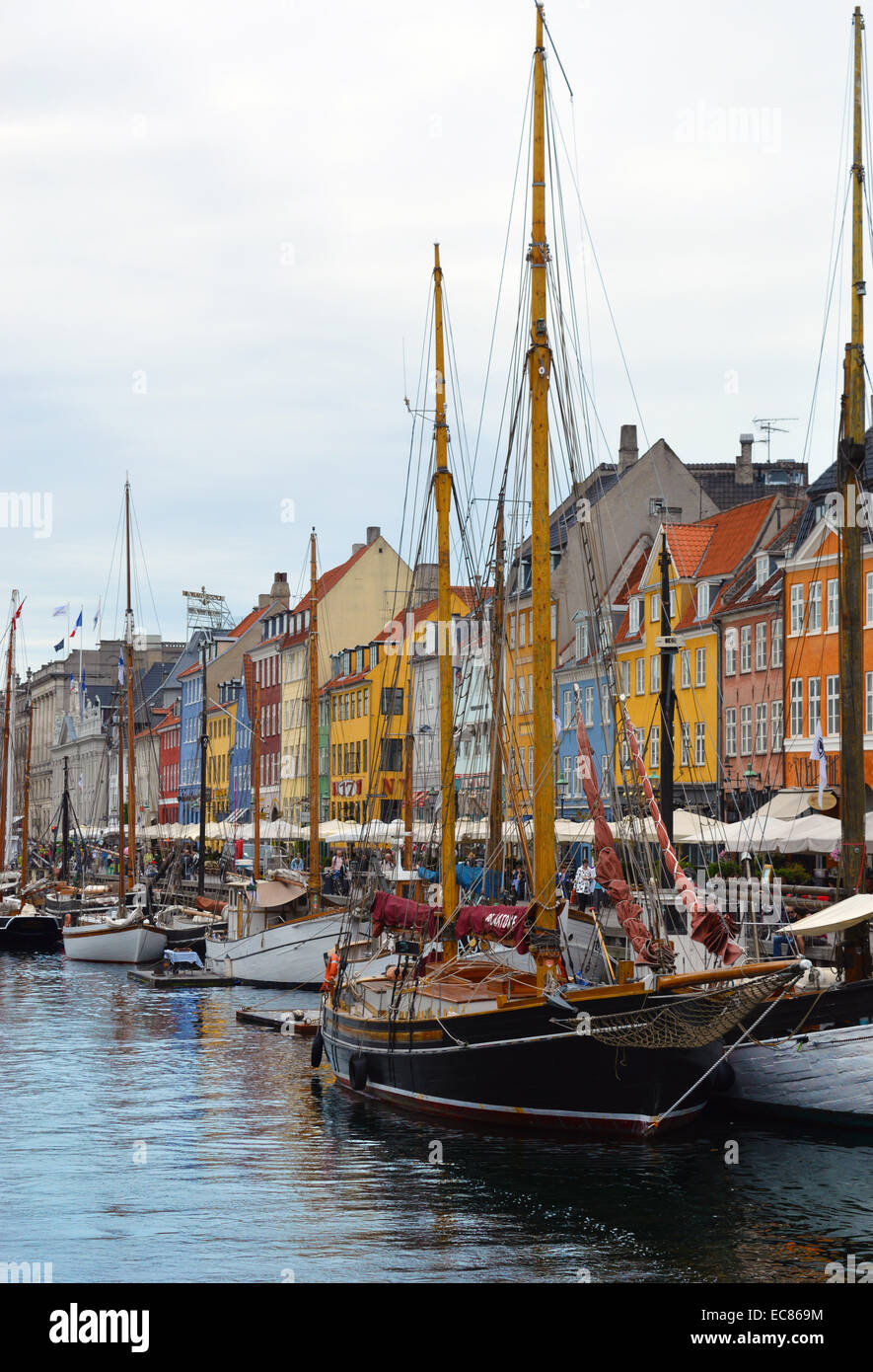 Nyhavn (New Harbour); a 17th-century waterfront; canal and entertainment district in Copenhagen; Denmark. it is Stock Photo