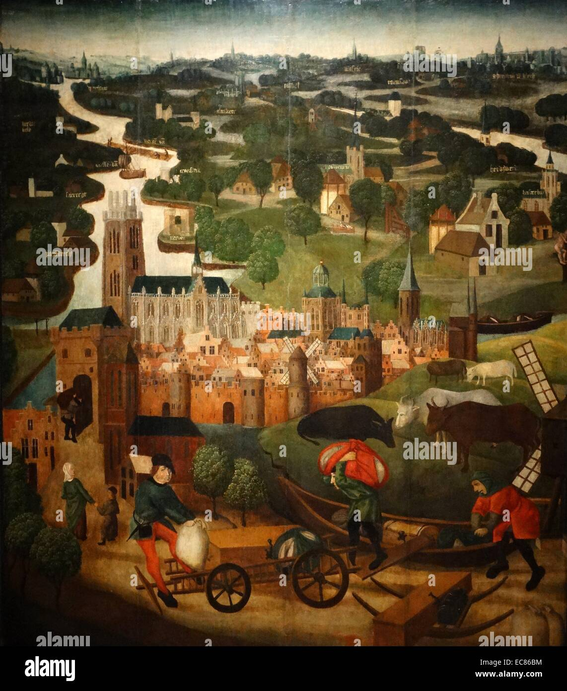 Painting depicting Saint Elizabeth's Day Flood painted by Master of the Saint Elizabeth Panels. Dated 15th Century - Stock Image