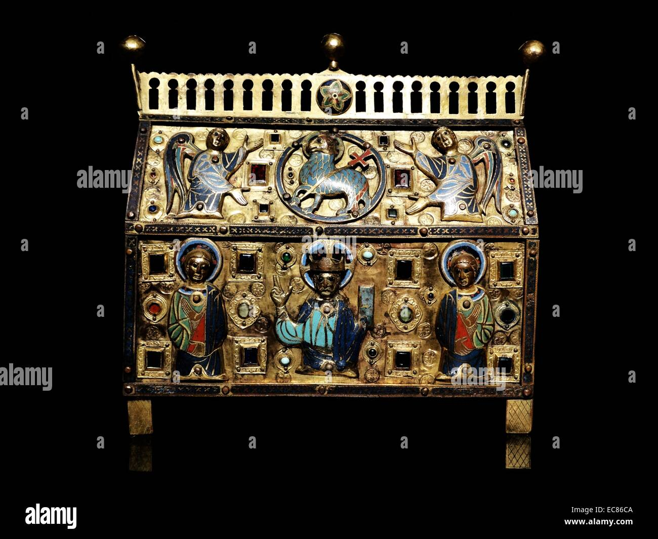 Reliquary decorated with Christ, Saints and Angels. Dated 13th Century - Stock Image