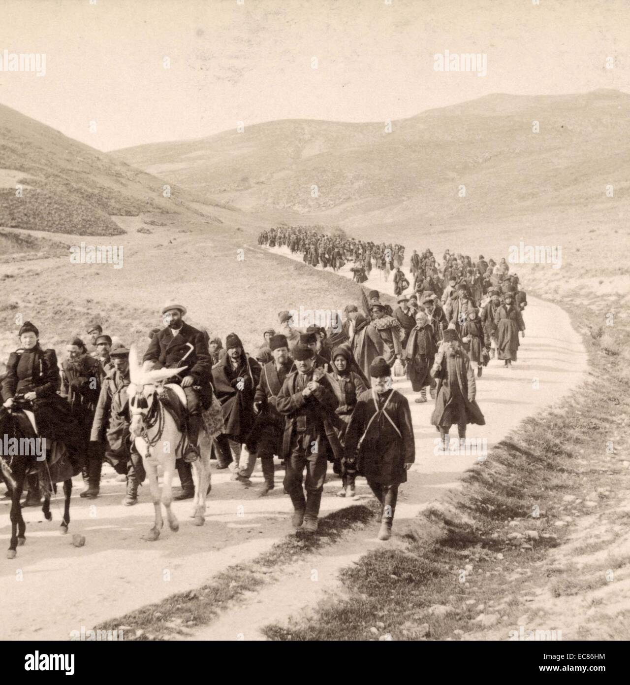 Photograph of Russian Pilgrims on the way to Jericho in Palestine. Dated 1899 - Stock Image