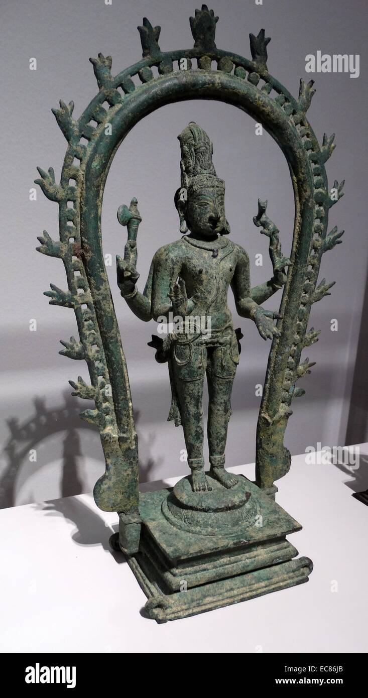 Bronze Shiva with the Moon in his hair. Dated 15th Century - Stock Image