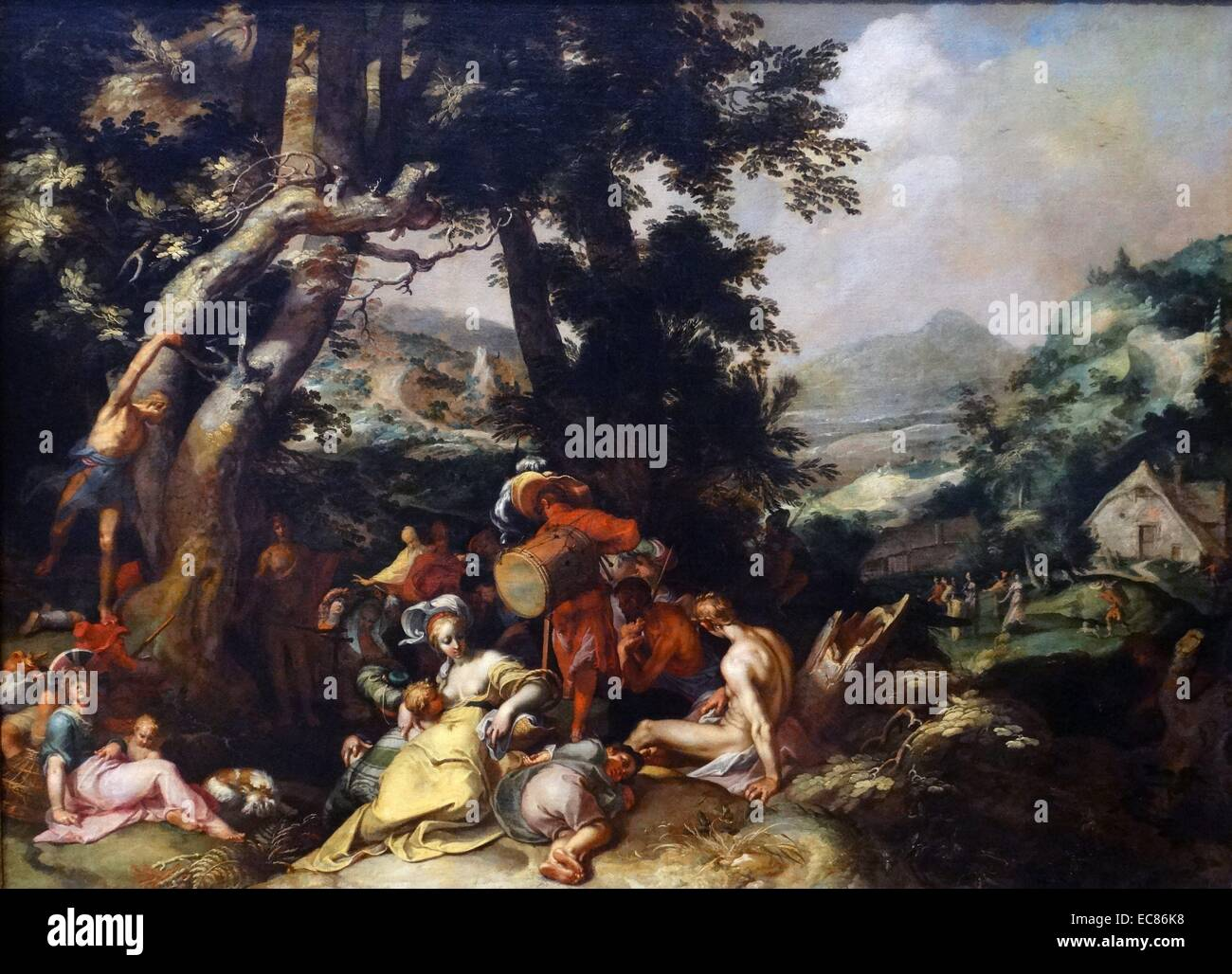Painting titled 'The Preaching of Saint John the Baptist' - Stock Image