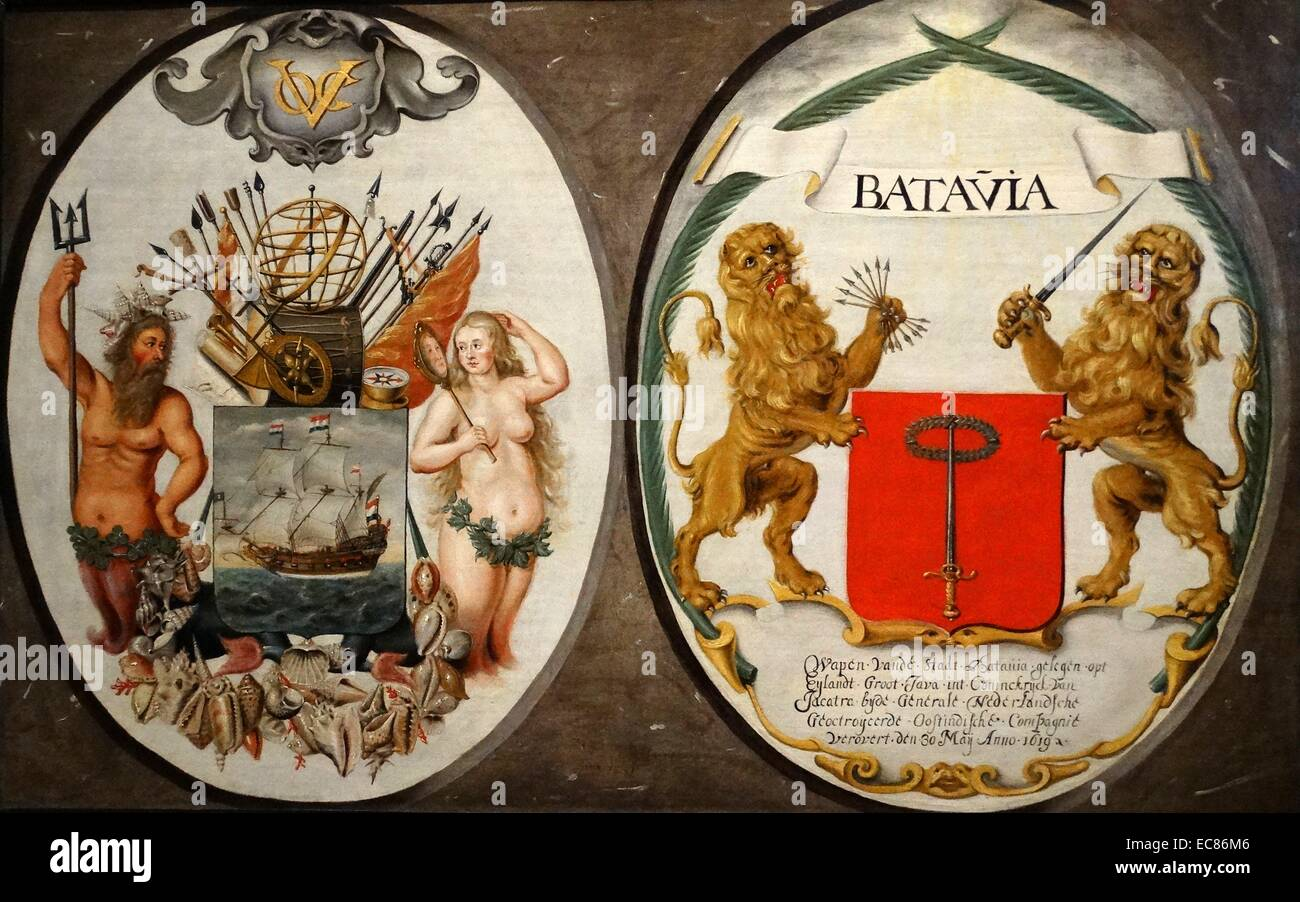 The Arms of the Dutch East India Company and of the Town of Batavia. Dated 17th Century - Stock Image