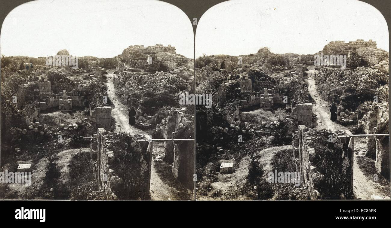 Photograph of Crusader Ruins on Mount Tabor, in Lower Galilee, Israel. Dated 1909 - Stock Image