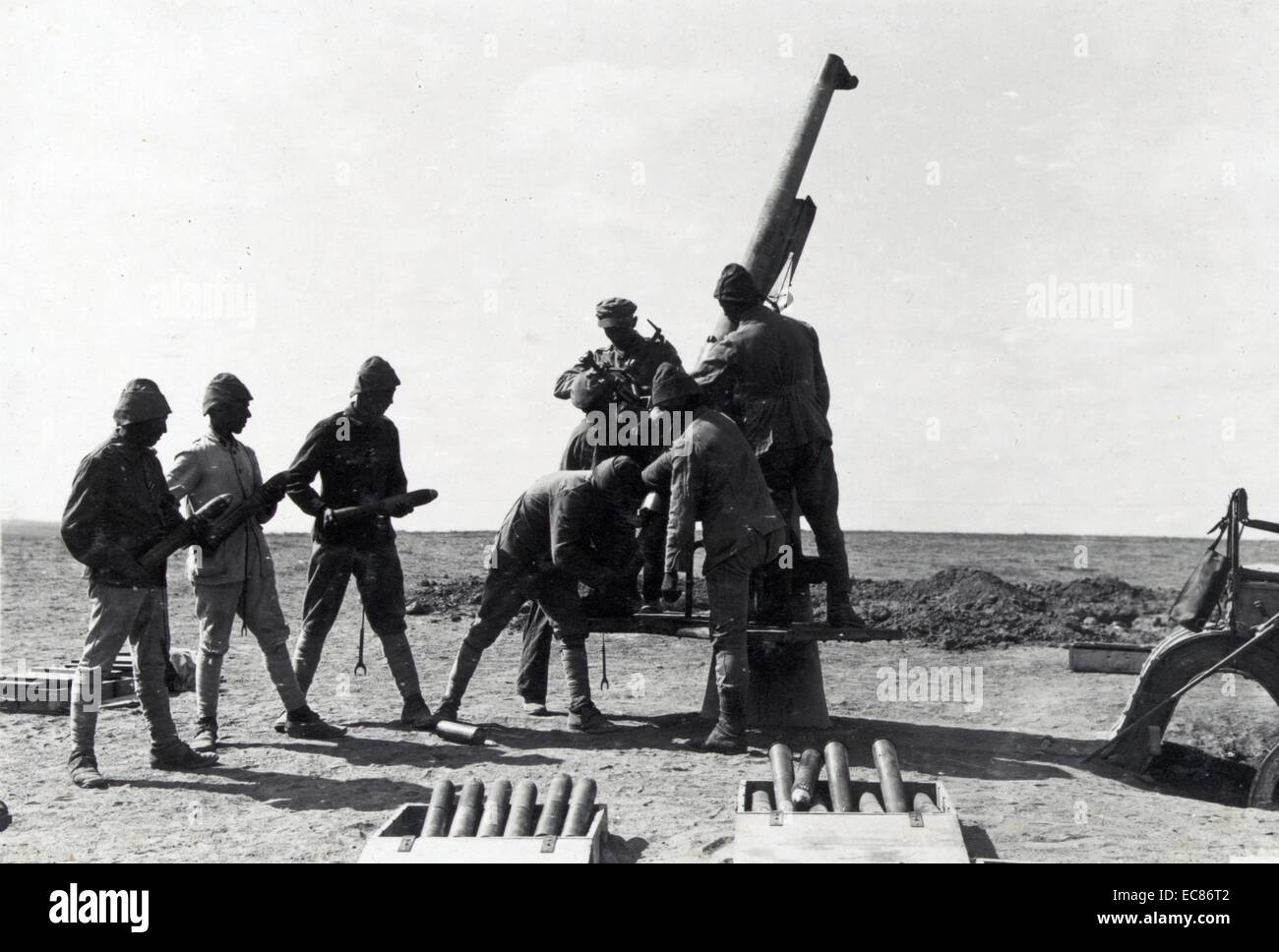 Photograph of Anti-Aircraft guns at the Battle of Tel el Khuweilfe, part of the Southern Palestine Offensive. Dated - Stock Image