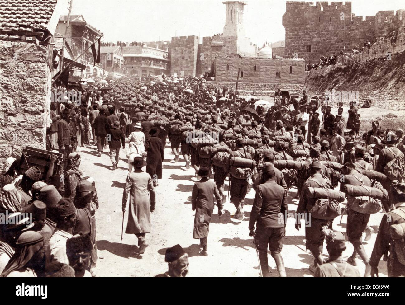 Photograph of Austrian troops marching up Mt Zion, Jerusalem. Dated 1916 - Stock Image