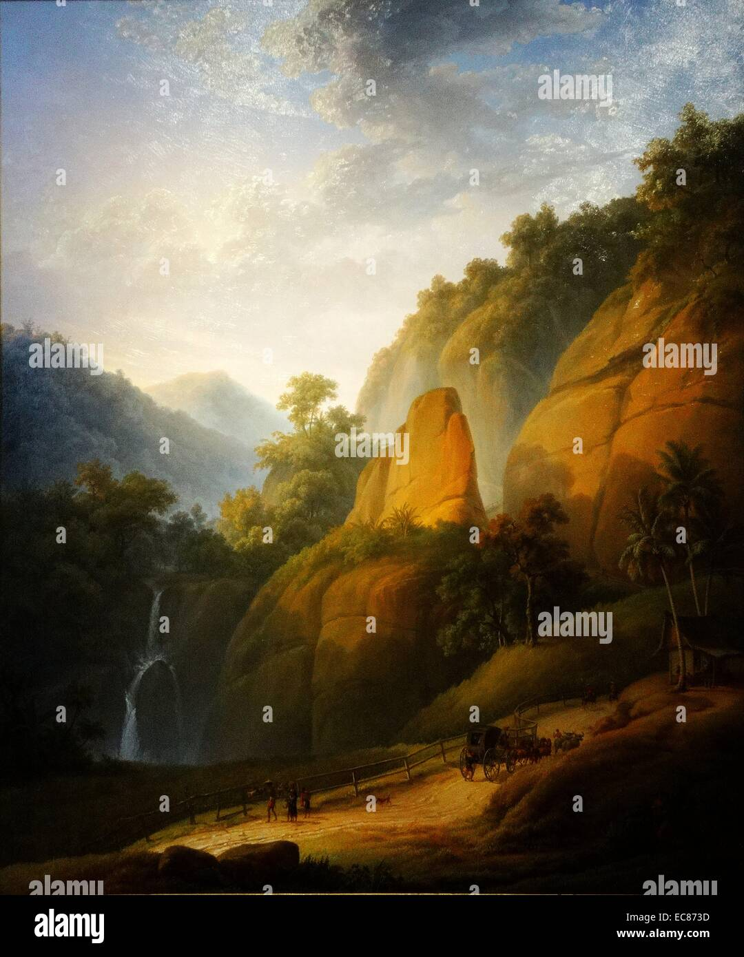 Painting titled 'The Great Postal Route near Rejapolah' Stock Photo
