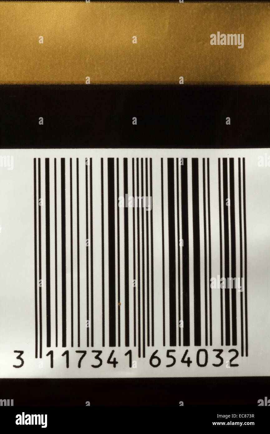 black and gold color, barcode - Stock Image