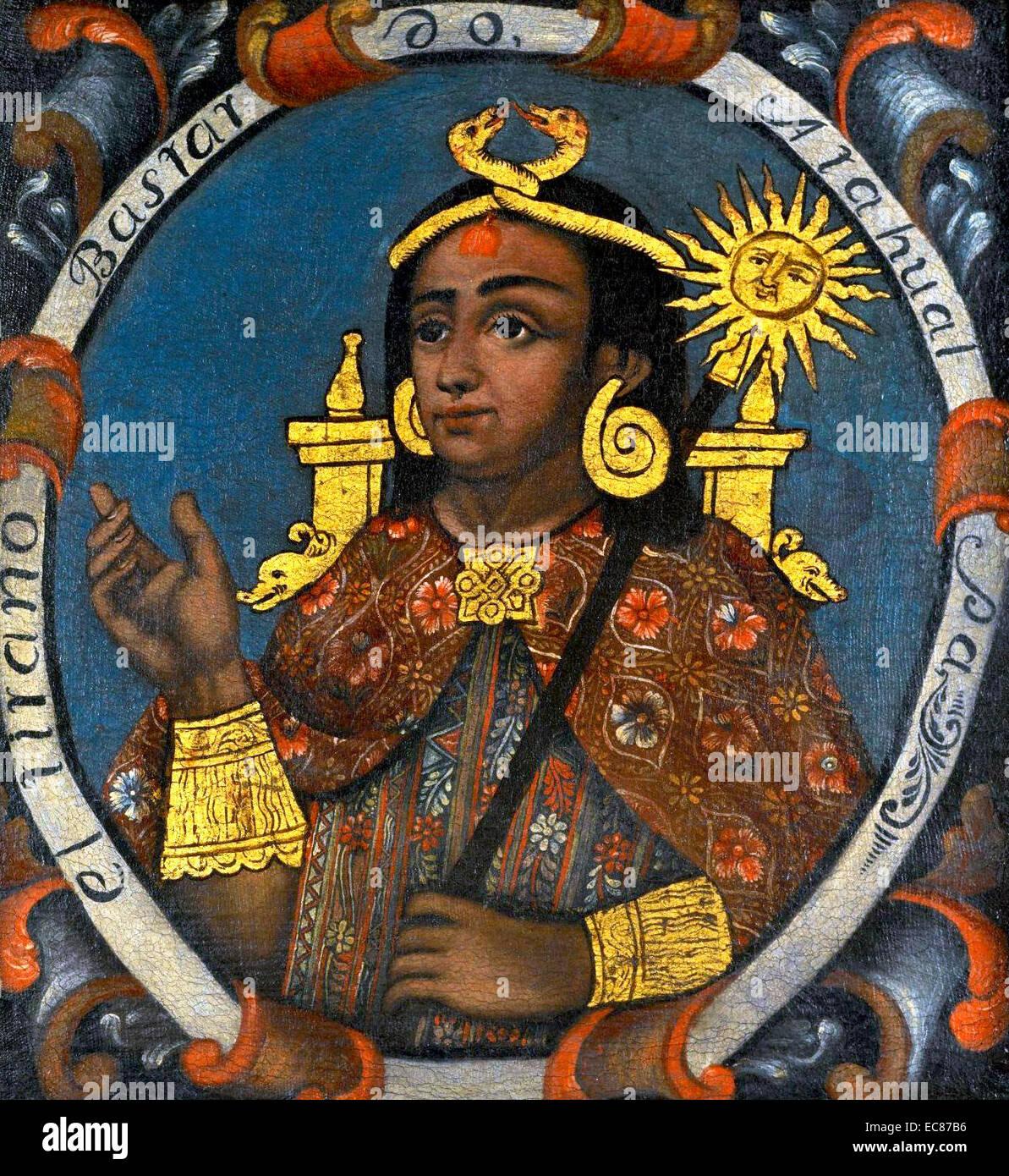 Portrait of Atahualpa (1500-1533) Last Sapa Inca emperor before the Spanish conquest. Dated 16th Century - Stock Image