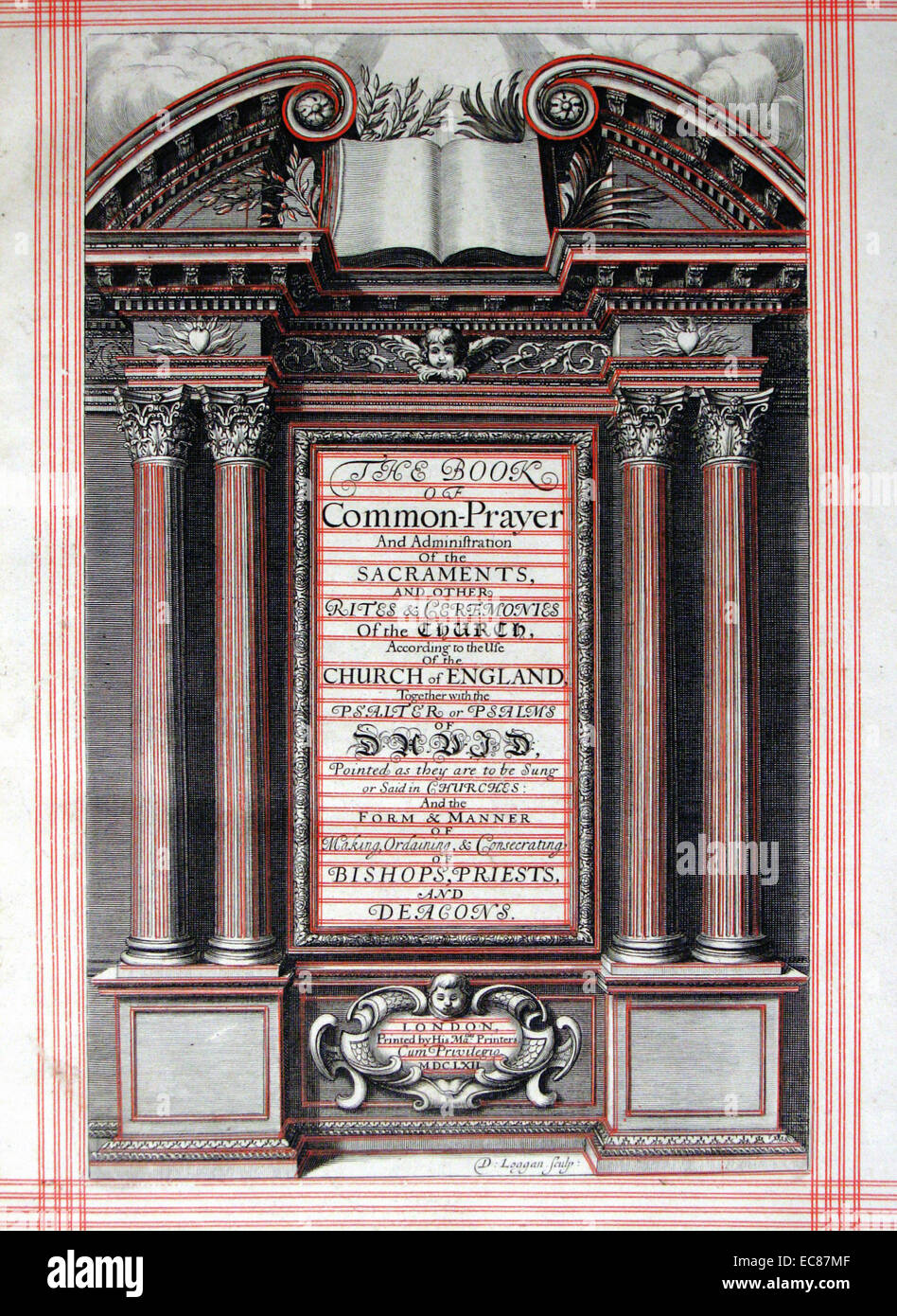 Frontispiece from the Book of Common Prayer. Dated 17th Century - Stock Image