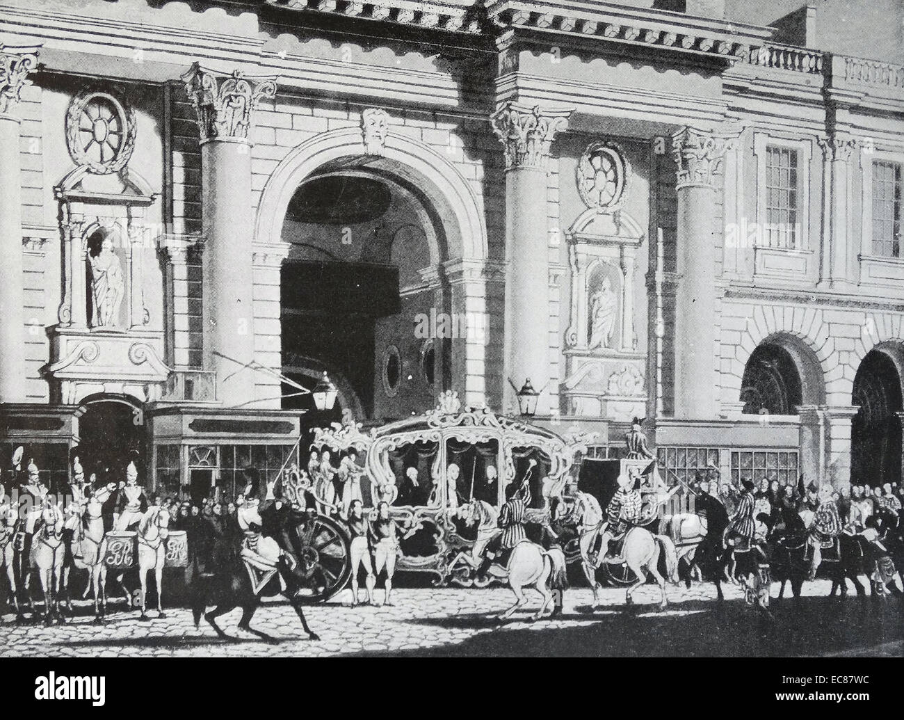 Photograph of the Proclamation of King George IV of Great Britain at the Royal Exchange, London. Dated 1820 - Stock Image