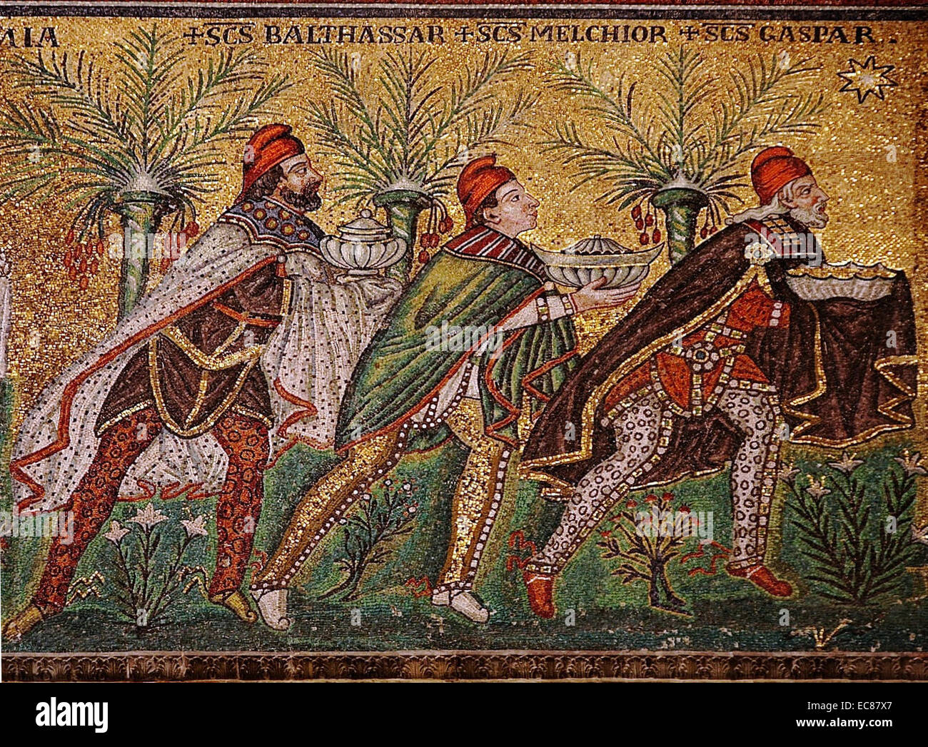 Mosaic of the Three Wise Men in the Basilica of Sant Apollinaire Nuovo, Ravenna, Italy. Dated 6th Century - Stock Image