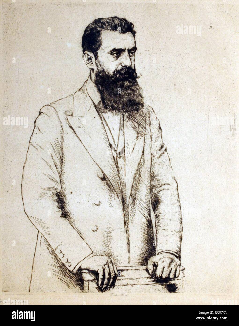 Portrait of Theodor Herzl (1860-1904) Austro-Hungarian journalist, playwright, political activist and writer. Dated - Stock Image