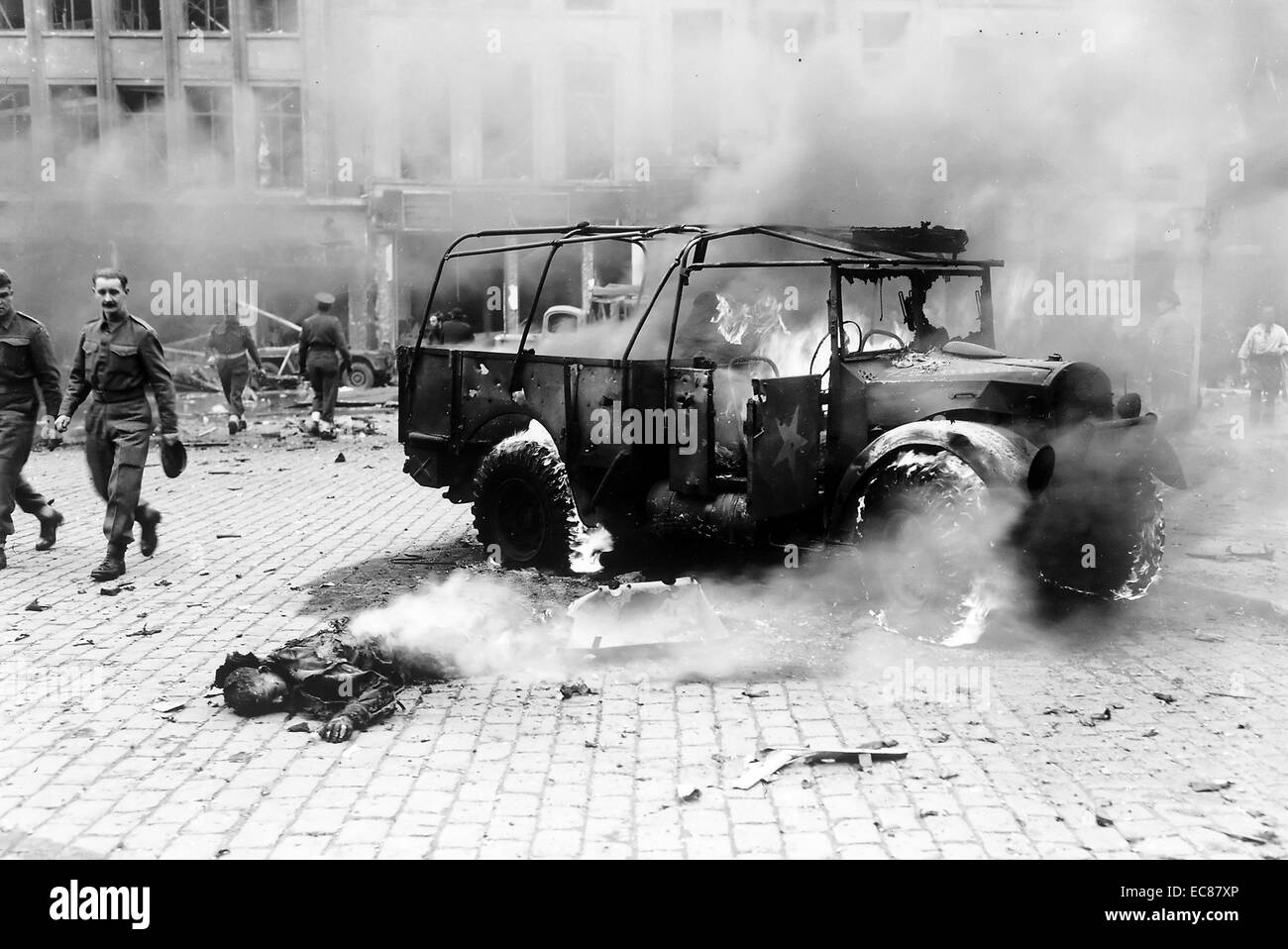 Photograph of the death and damaged caused by a German V-2 rocket exploding on a main intersection. Antwerp, Belgium. - Stock Image