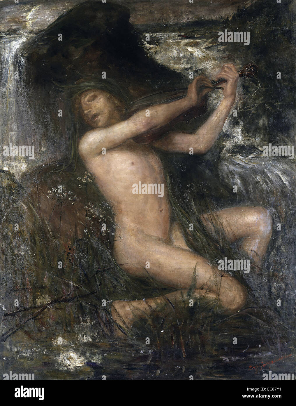 Painting titled 'Näcken' (The Water Sprite) painted by Ernst Josephson (1851-1906). Dated 1884 - Stock Image
