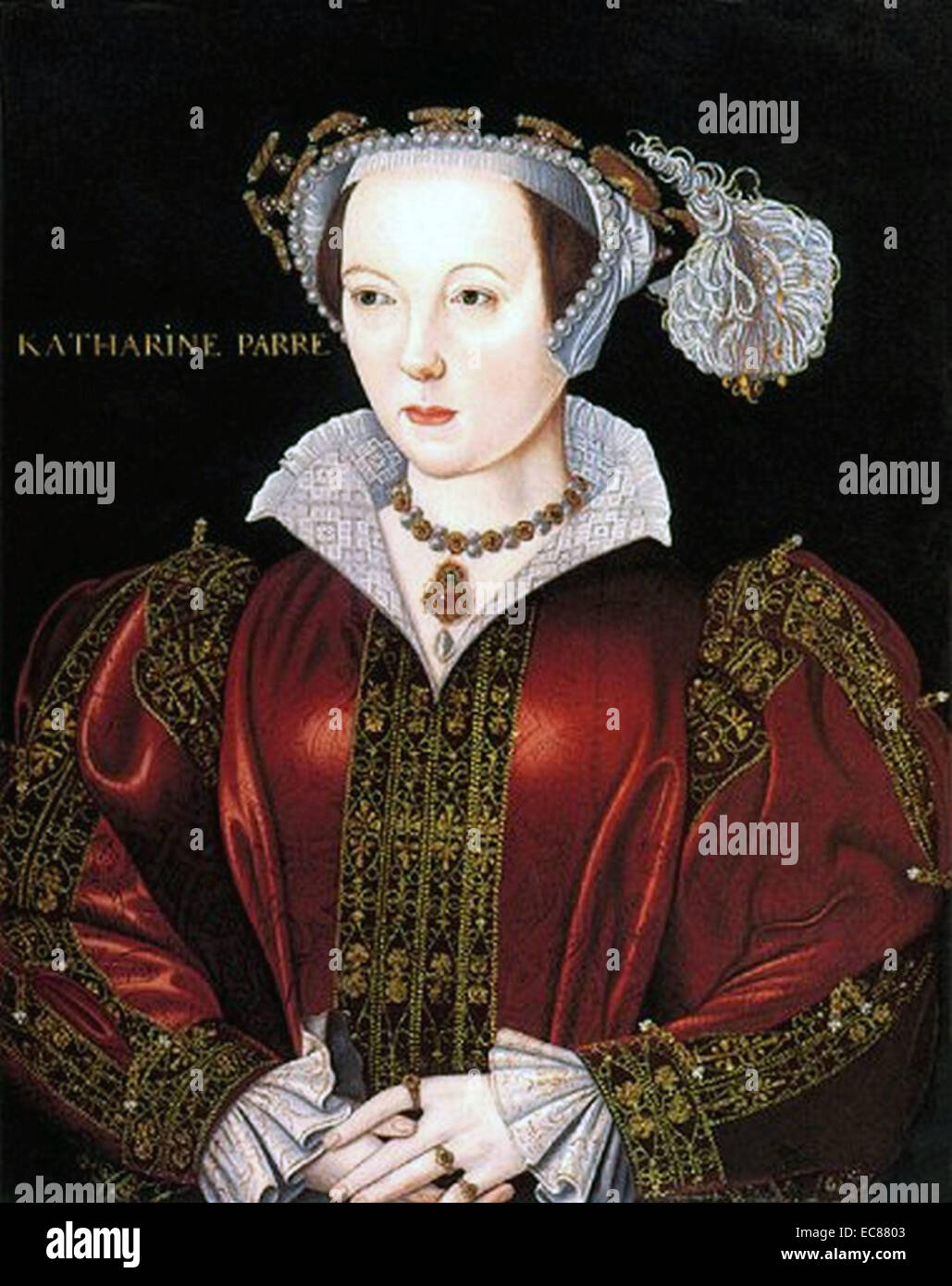 Portrait of Catherine Parr (1512-1548) Queen of England and last of the wives of King Henry VIII. Dated 16th Century - Stock Image
