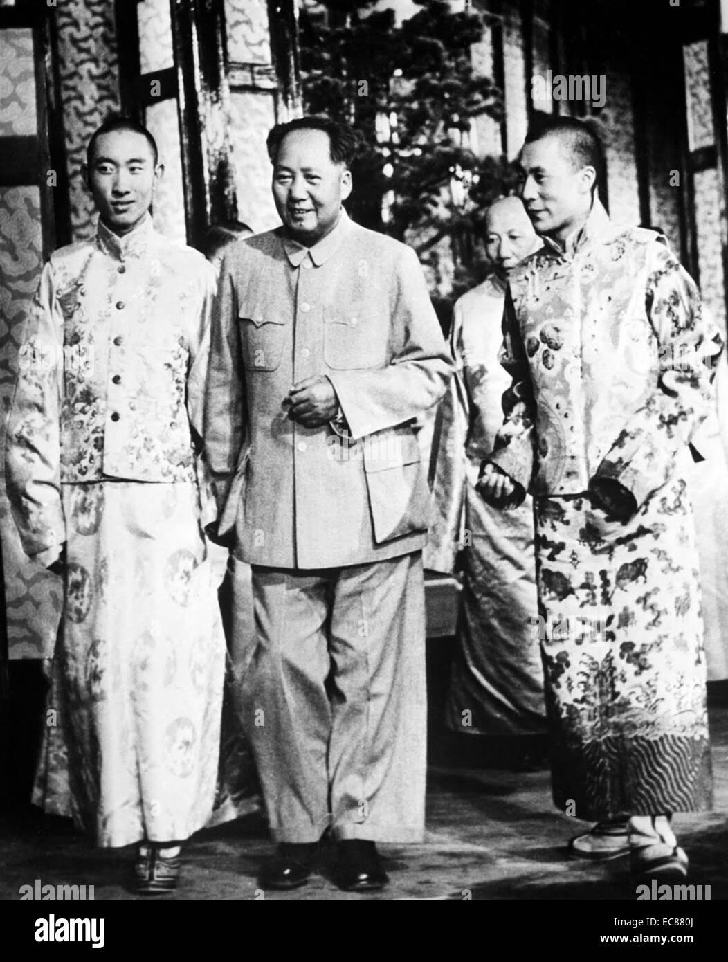 Photograph of Pachen Lama, Mao-tse-Tung and the Dalai Lama in Beijing. Dated 1958 - Stock Image