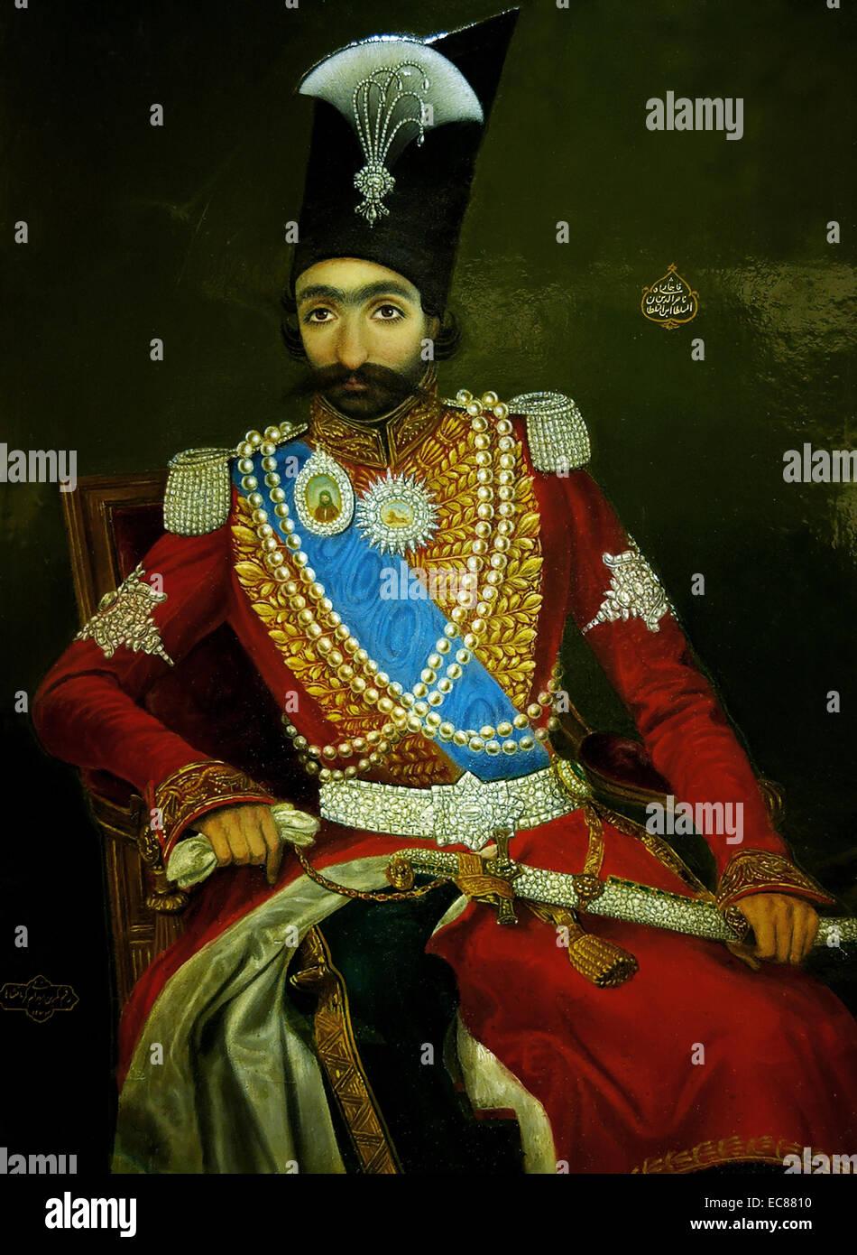 Portrait of Nasser al-Din Shah Qajar (1831-1896) King of Persia. Dated 1841 - Stock Image