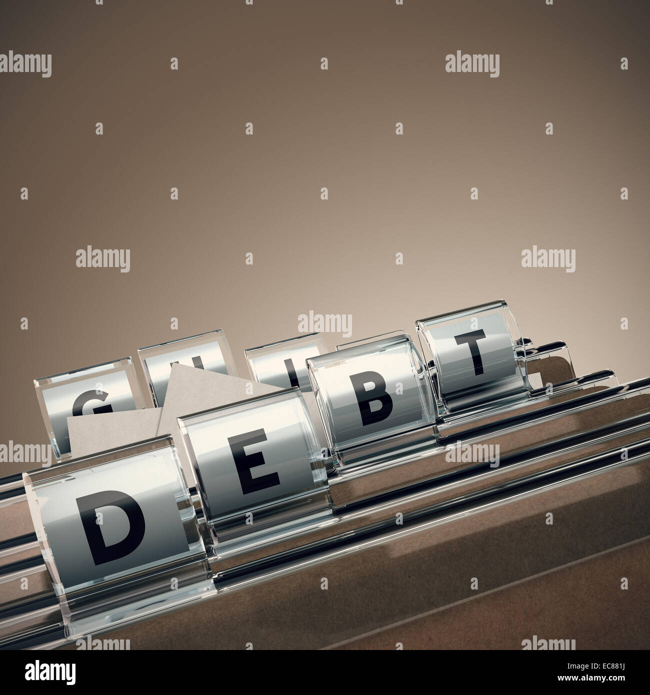 folder with the word debt with blur effect and perspective - Stock Image
