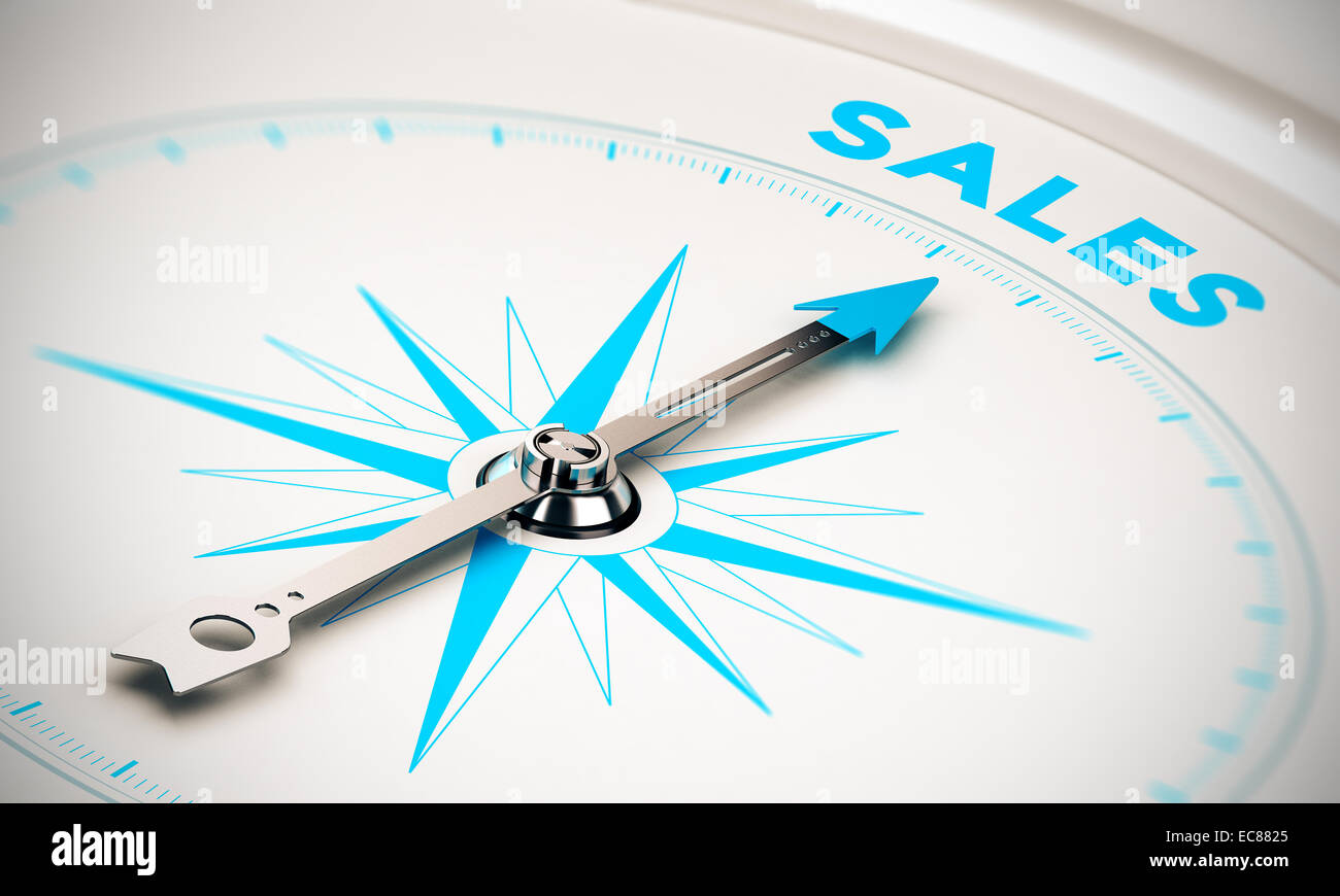 Compass with needle pointing the word sales, white and blue tones. Background image for illustration of sales goals - Stock Image