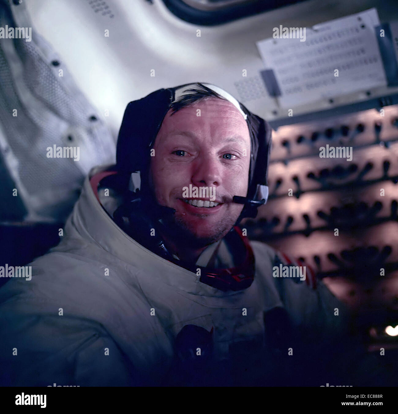 Photograph of Astronaut Neil Armstrong during the Apollo 11 space mission. Dated 1969 Stock Photo