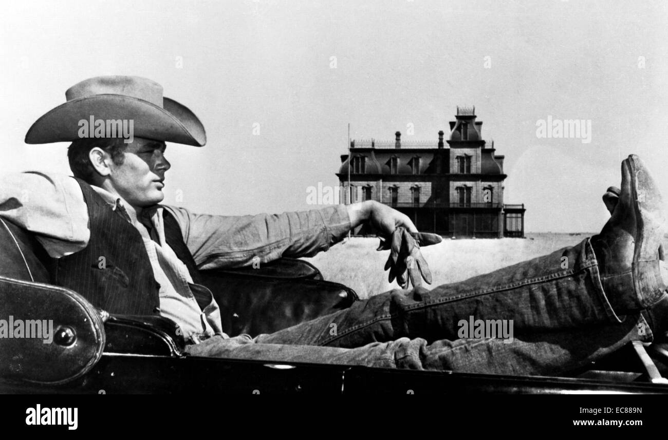 Photograph of James Byron Dean (1931-1955) American actor in the film 'Giant'. Dated 1955 - Stock Image
