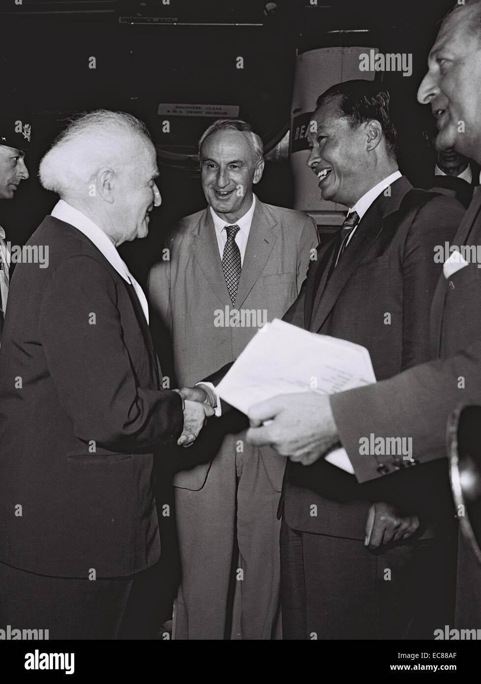 Photograph of David Ben Gurion (1886-1973) with General Ne Win, Prime Minister of Burma. Dated 1959 - Stock Image