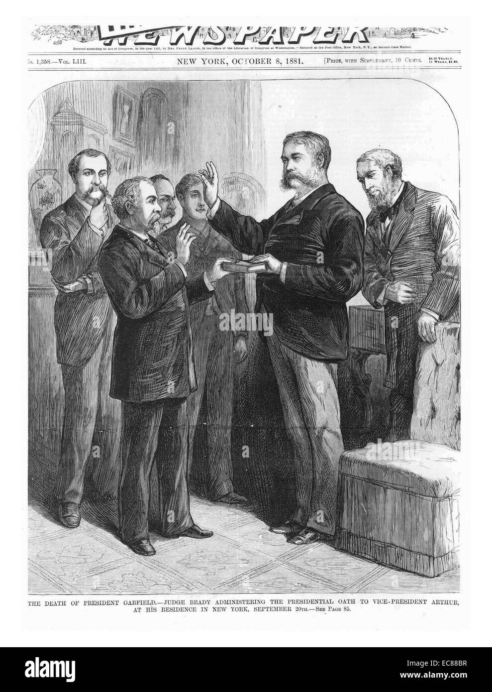 Chester Alan Arthur's Inauguration (1829-1886) 21st President of the United States . Dated 1881 - Stock Image
