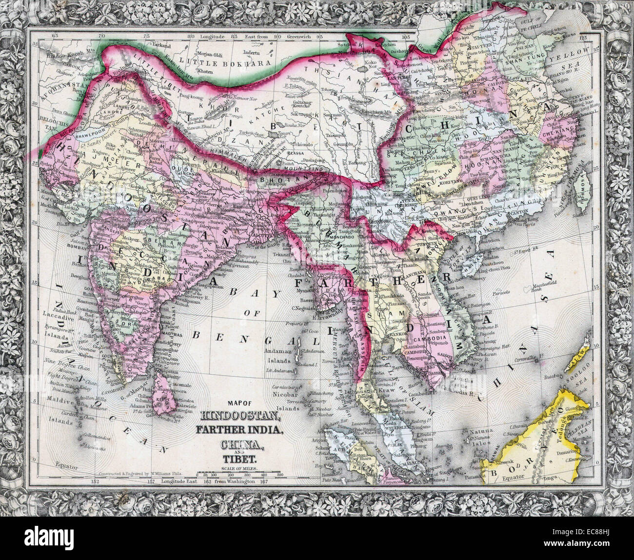 Map Of China And Southeast Asia.Mitchell Map Of India Tibet China And Southeast Asia Dated 1864
