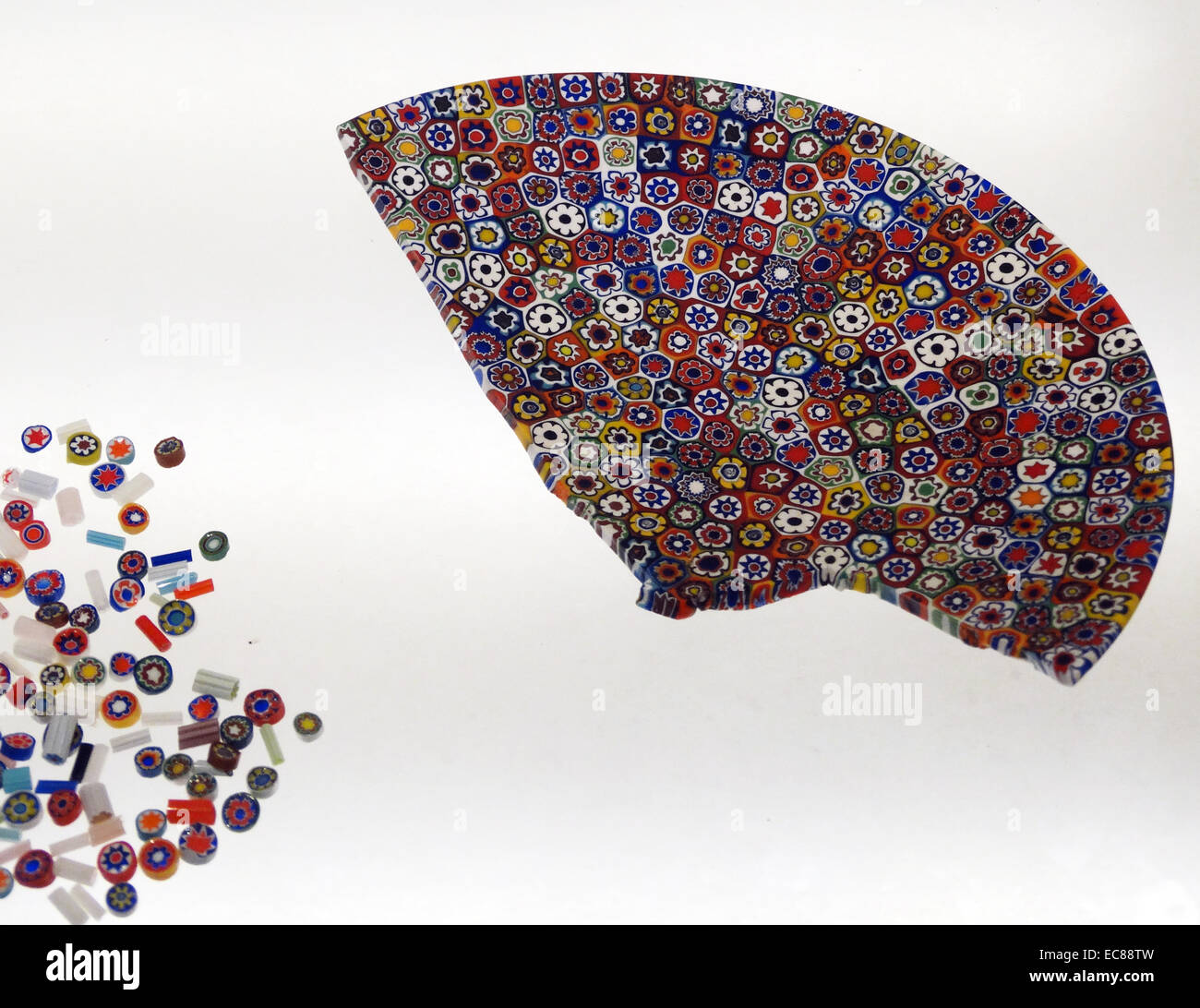 Bowl fragments, mosaic-glass canes, beads and sections. Murano, Italy, 20th century. - Stock Image