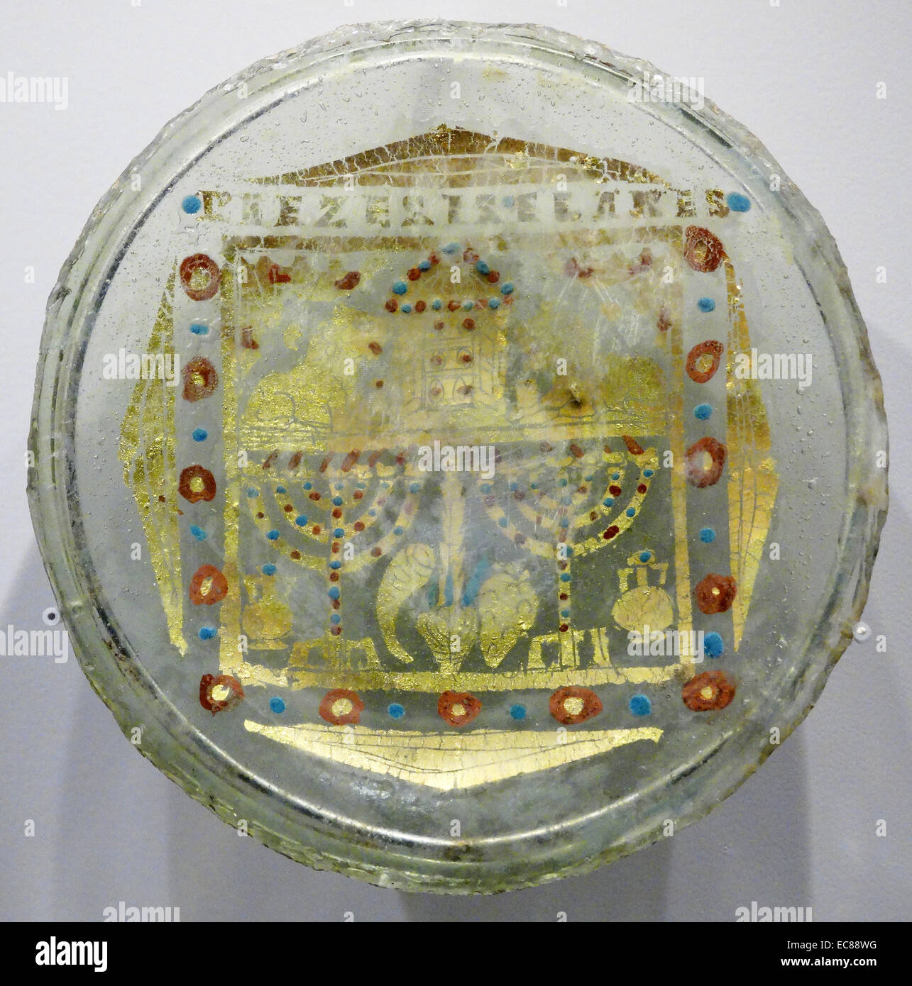 Gold-glass base. From Rome, 4th century. - Stock Image