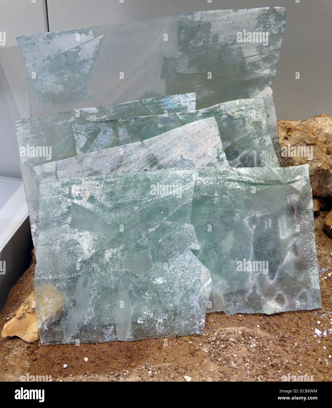Pile of stacked window panes, found in a glass studio in Beth Shean. From the 6th-7th century. - Stock Image