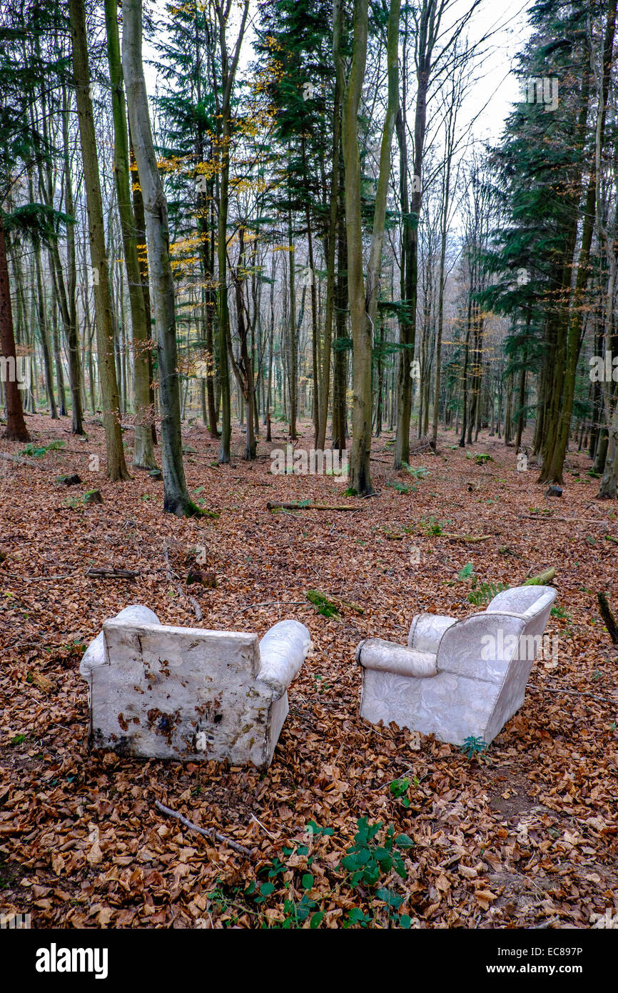 FLY TIPPED FURNITURE IN WOODLAND GLOUCESTERSHIRE ENGLAND UK IN AN AREA OF OUTSTANDING NATURAL BEAUTY, THE WYE VALLEY. - Stock Image