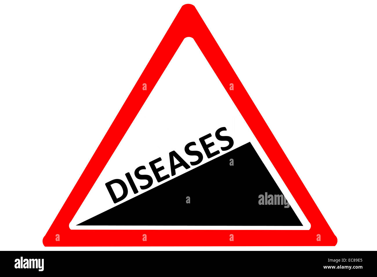 Diseases rising warning road sign isolated on pure white background - Stock Image