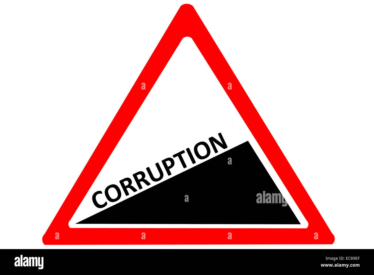 Corruption increasing warning road sign isolated on pure white background - Stock Image
