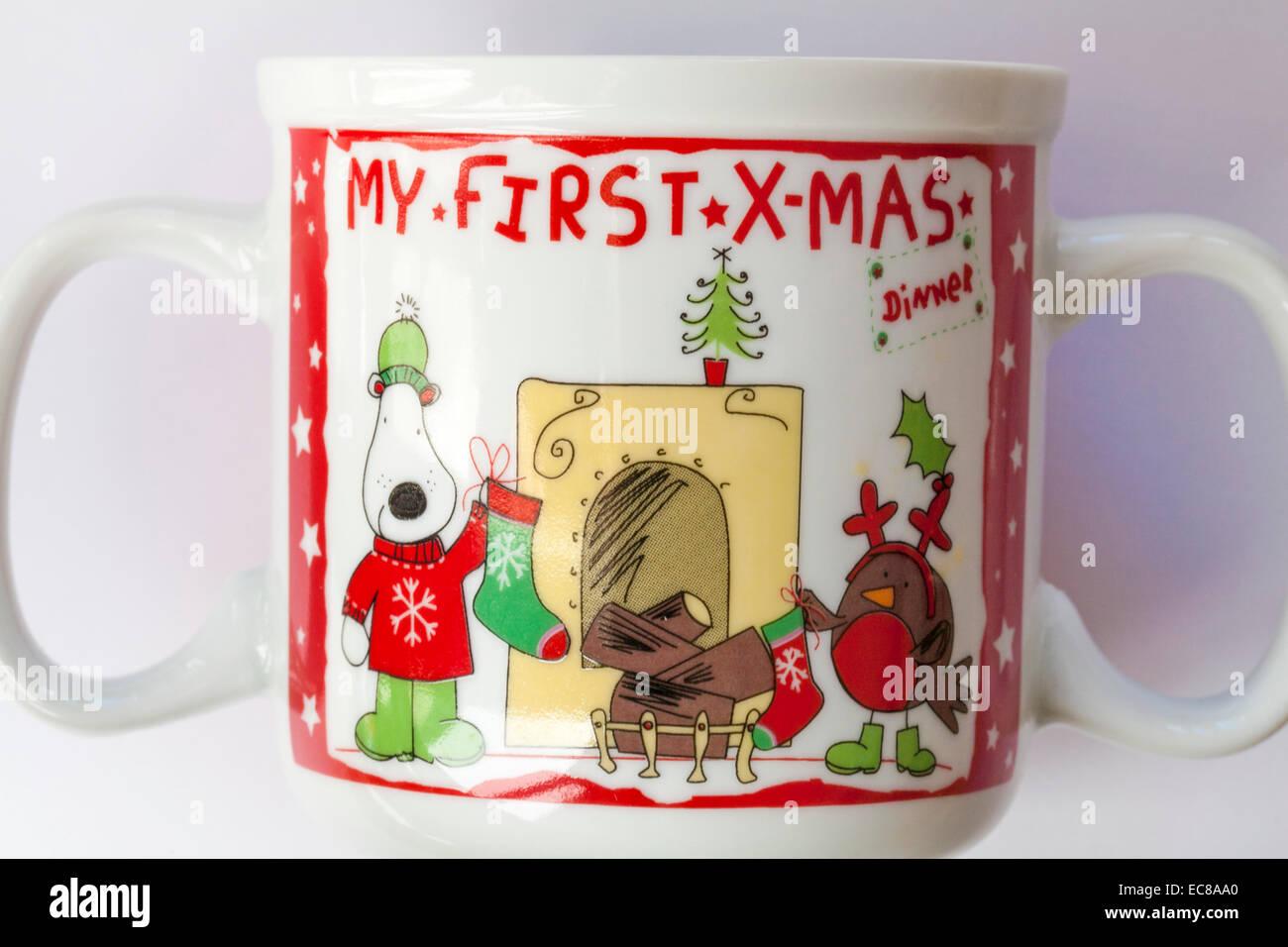 My first Xmas double handled mug set on white background - Stock Image