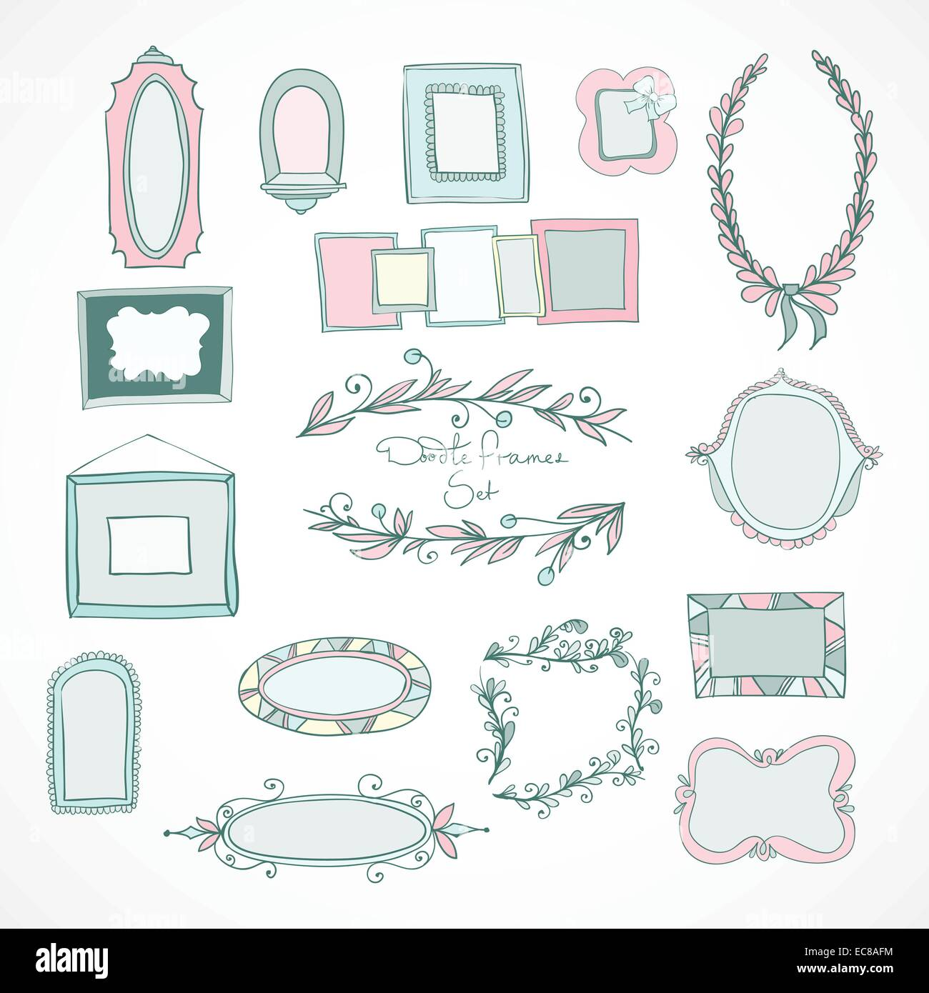 Collection of hand drawn doodle frames and design elements for stock collection of hand drawn doodle frames and design elements for wedding decoration isolated vector illustration junglespirit Gallery